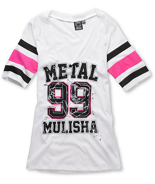 Metal Mulisha Lucky White V-Neck Football T-Shirt
