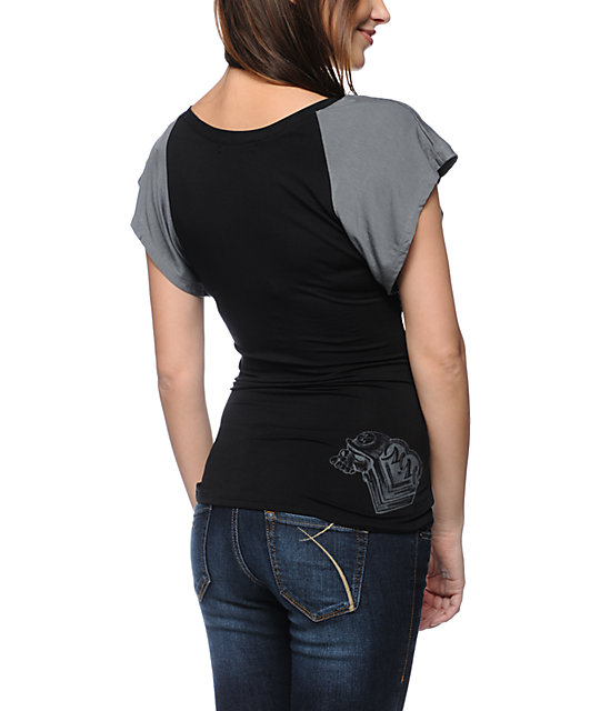 Metal Mulisha Magdalena Black V-Neck Dolman Top