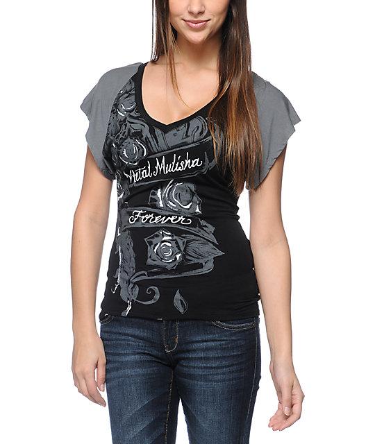Metal Mulisha Magdalena Black V-Neck Dolman Top