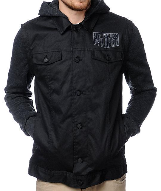 Metal Mulisha Tasked Black Hooded Waxed Jean Jacket