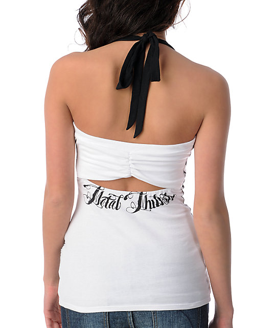 Metal Mulisha Transfix White & Black Knit Halter Tank Top