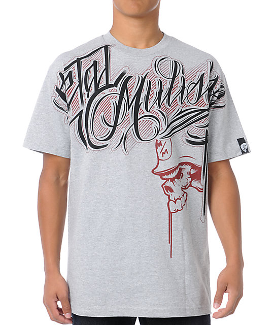 Metal Mulisha Typeface Grey T-Shirt