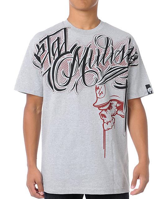 Metal Mulisha Typeface Grey T-Shirt