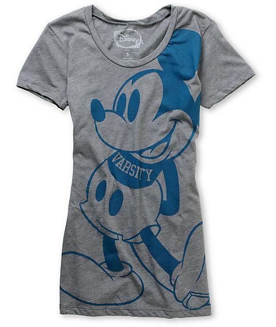 Mighty Fine Mickey Varsity Disney Charcoal T-Shirt