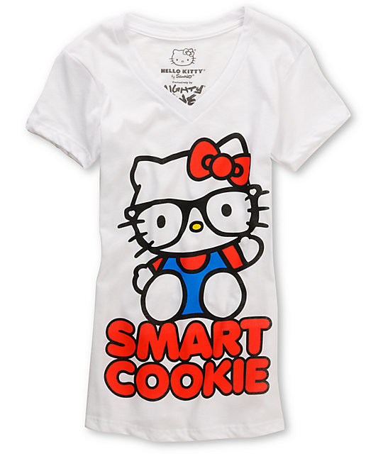 Mighty Fine Smart Cookie Hello Kitty White V-Neck T-Shirt