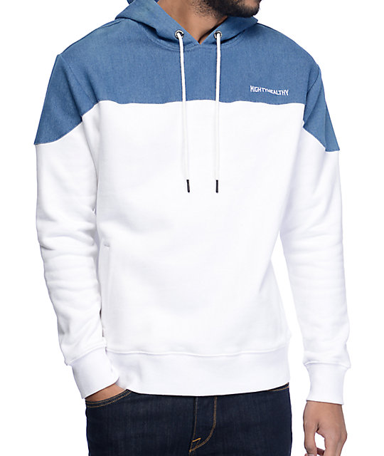 Mighty Healthy Bottom Up White & Blue Hoodie