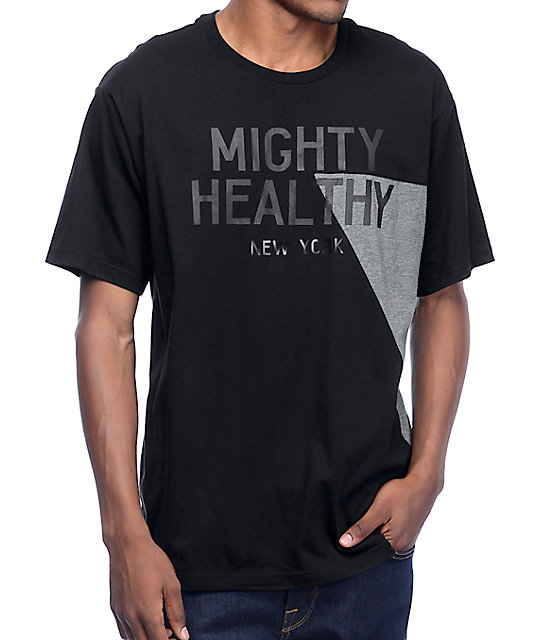 Mighty Healthy Racer Black T-Shirt