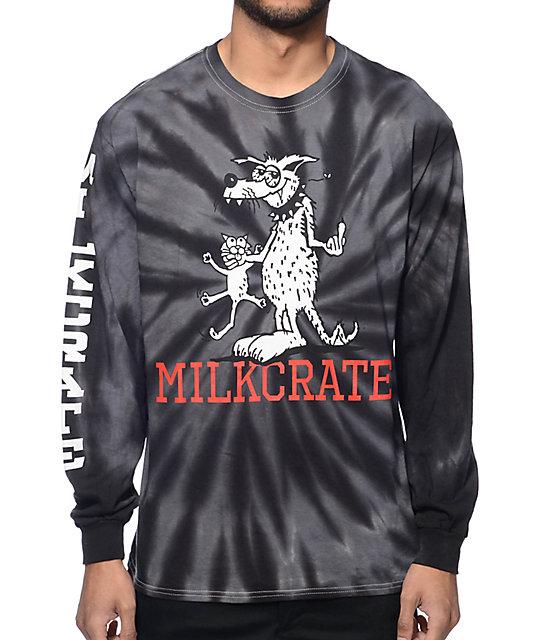 Milkcrate Bird Dog Tie Dye Grey Long Sleeve T-Shirt
