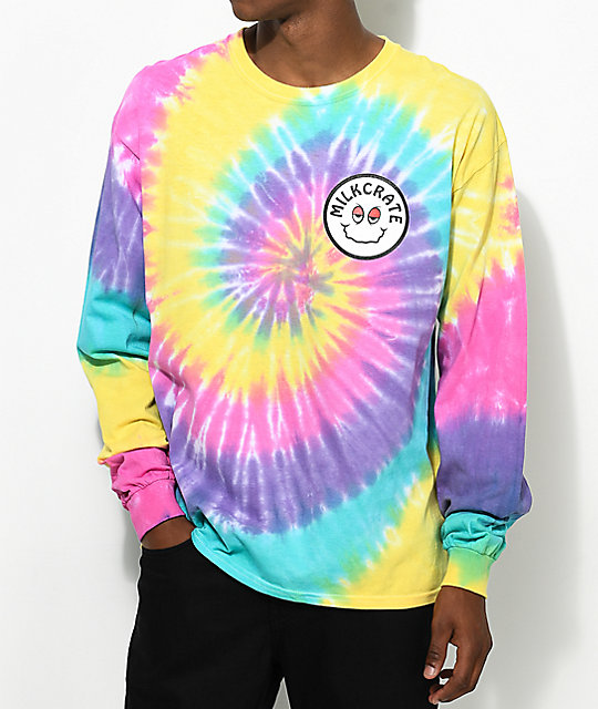 milkcrate smiles long sleeve pastel tie dye t shirt