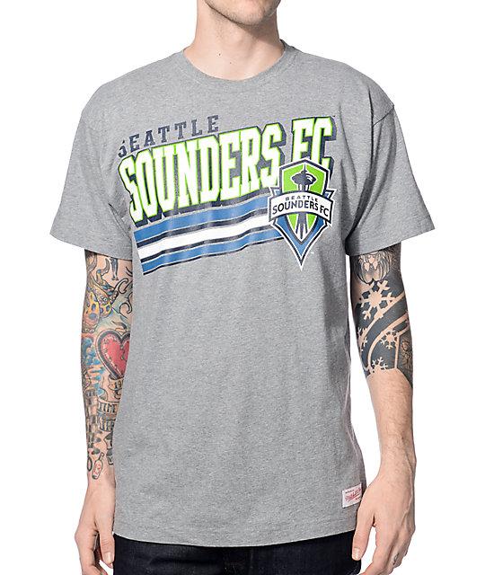Mitchell & Ness Seattle Sounders Bold Block Heather Grey T-Shirt