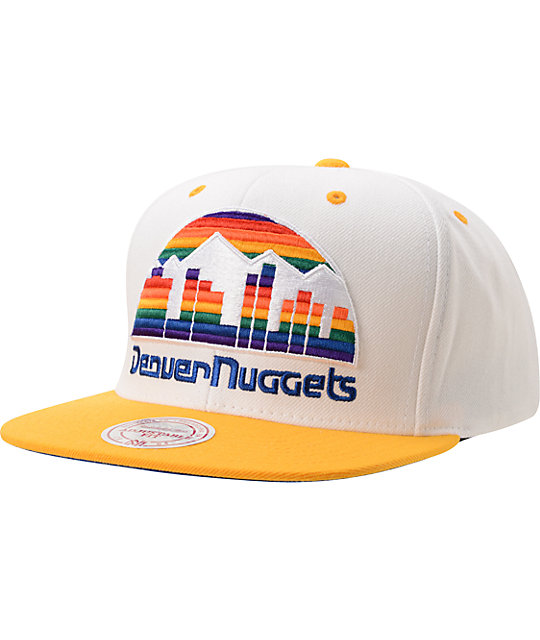 Mitchell And Ness Denver Nuggets XL Logo White & Gold Snapback