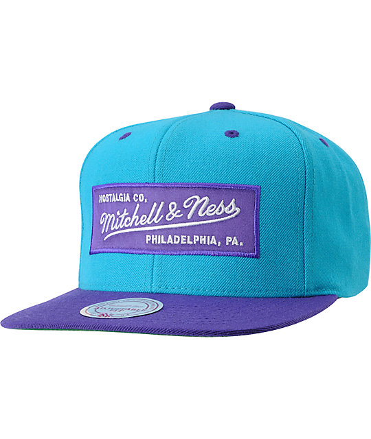 Mitchell and Ness 2 Tone Teal & Purple Snapback Hat