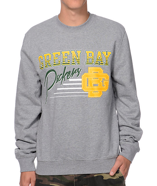 Mitchell and Ness Green Bay Packers Training Room Grey Crew Neck ...