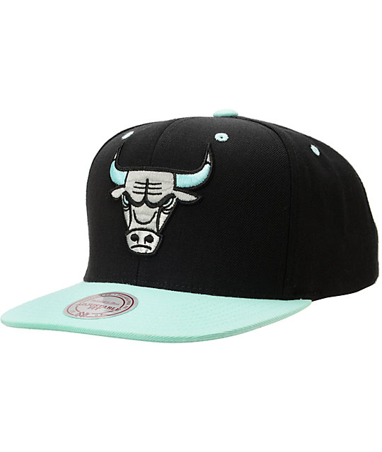 Mitchell and Ness NBA Bulls Black & Green Glow Snapback Hat