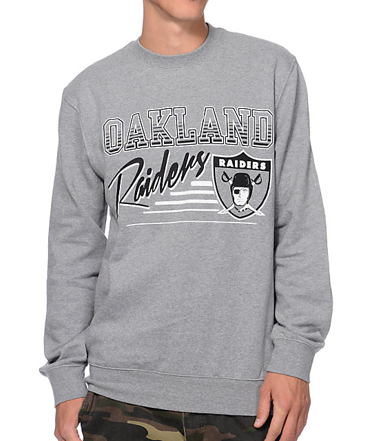 Mitchell and Ness Oakland Raiders Training Room Grey Crew Neck Sweatshirt