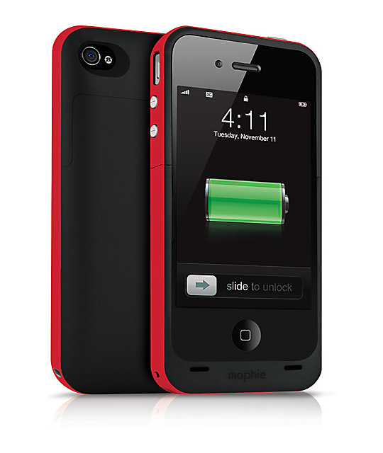 Mophie Juice Pack Plus iPhone 4 & 4s Black & Red Charge Case