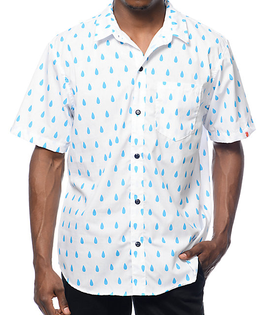 Most Dope Allover Raindrop White Button Up Shirt