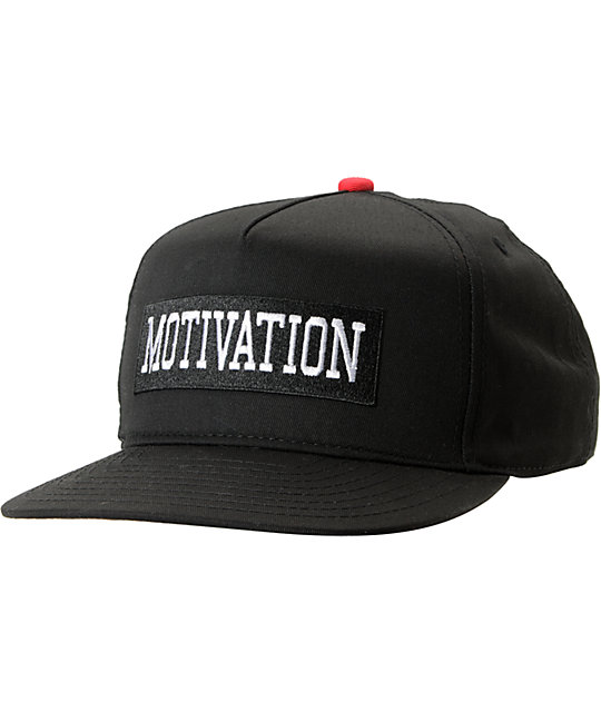 Motivation Collegiate Black Snapback Hat
