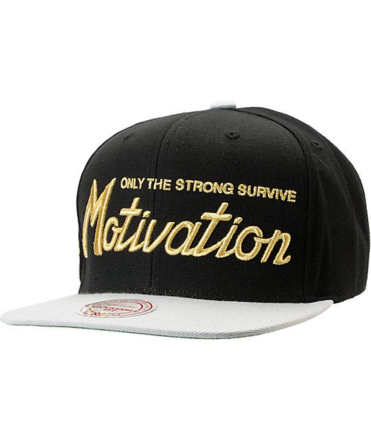 Motivation Script Mitchell & Ness Black & Grey Snapback Hat