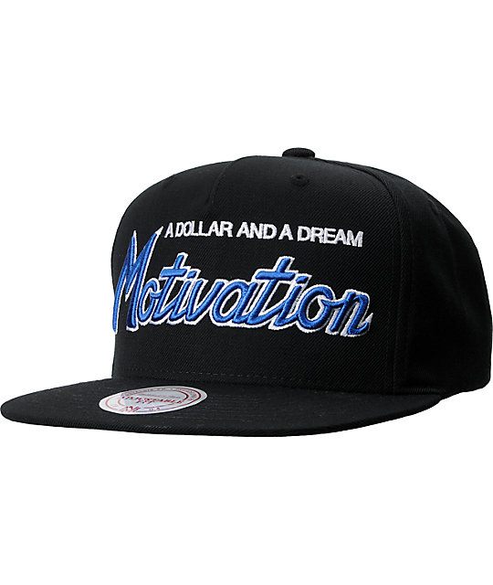 Motivation Script Mitchell & Ness Black Snapback Hat