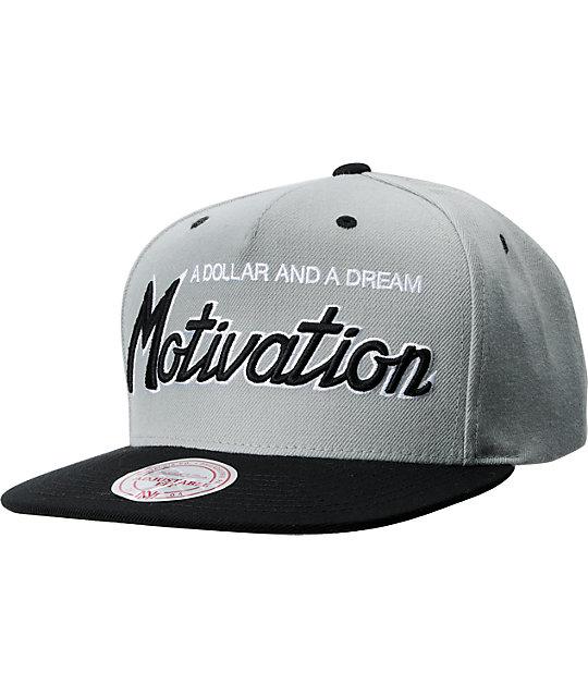 Motivation Script Mitchell & Ness Grey & Black Snapback Hat