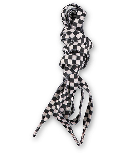 Mr. Lacy Printies Checkered Black & White Shoe Laces