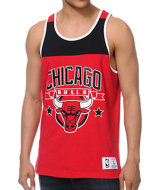 NBA Mitchell & Ness Bulls Red Color Blocked Tank Top