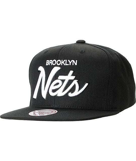 NBA Mitchell And Ness Brooklyn Nets Black Script Snapback Hat