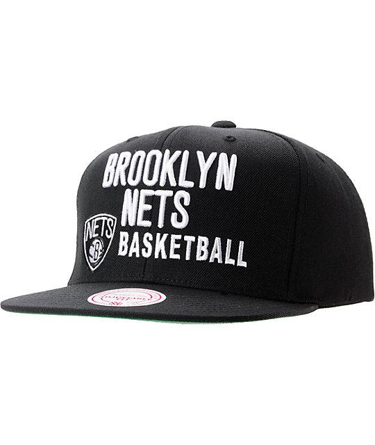 NBA Mitchell And Ness Brooklyn Nets Blocker Black Snapback Hat