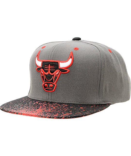 NBA Mitchell And Ness Chicago Bulls Grey Splatter Snapback Hat