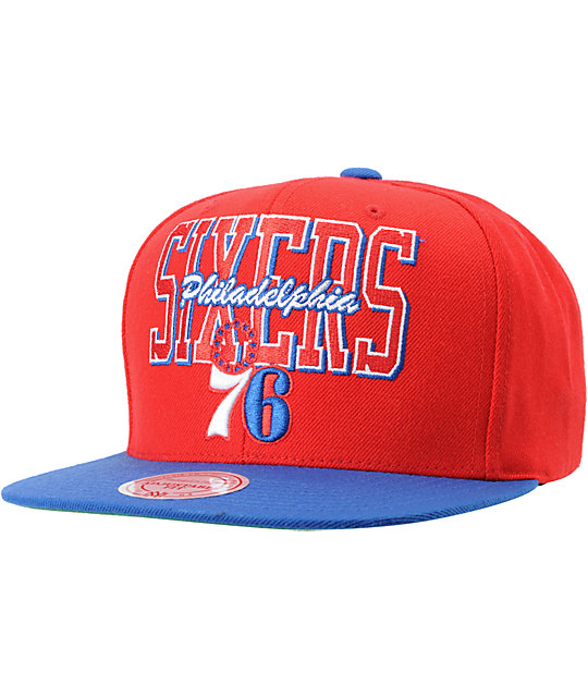 NBA Mitchell and Ness 76ers Reverse Stack Snapback Hat