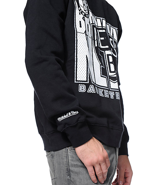 NBA Mitchell and Ness Brooklyn Nets Black Tech Foul Crew Neck Sweatshirt