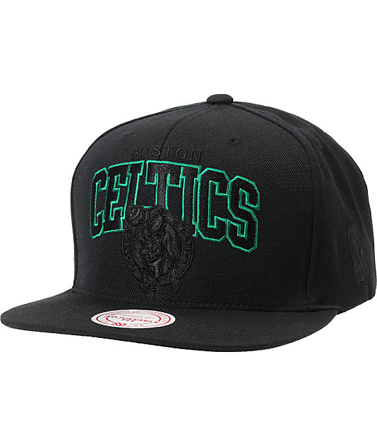 NBA Mitchell and Ness Celtics Black Arch Snapback Hat