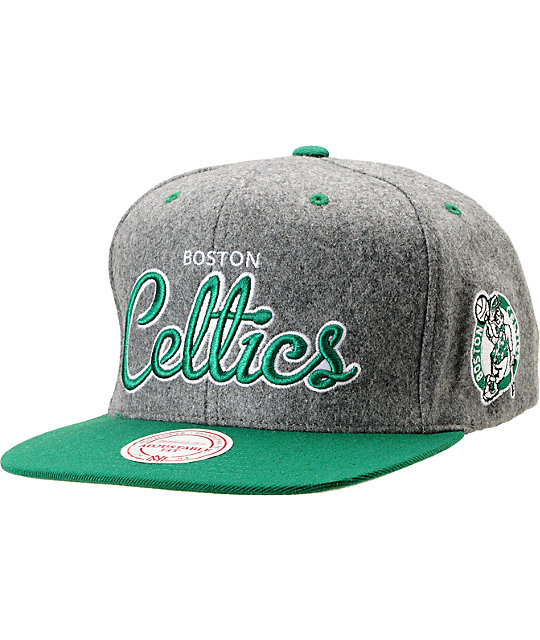 NBA Mitchell and Ness Celtics Melton Script 2Tone Snapback Hat