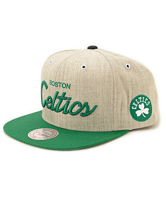 NBA Mitchell and Ness Celtics Script Road Snapback Hat