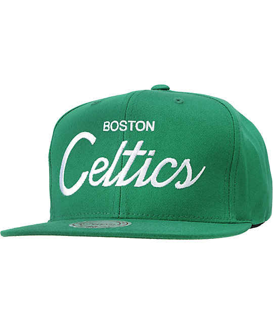 NBA Mitchell and Ness Celtics Script Snapback Hat