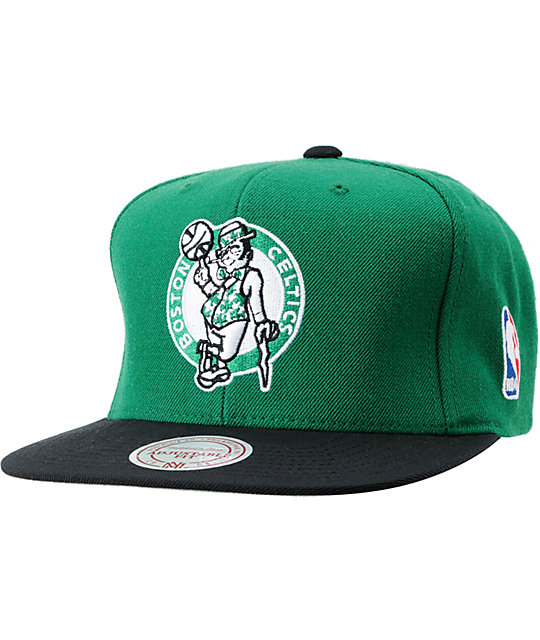 NBA Mitchell and Ness Celtics Standard Logo Green Snapback Hat