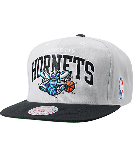 NBA Mitchell and Ness Charlotte Hornets Grey Arch Snapback Hat
