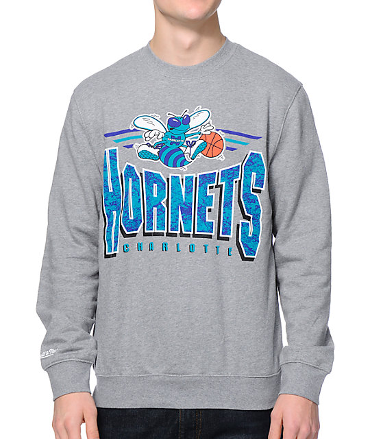 NBA Mitchell and Ness Charlotte Hornets Grey Crew Neck Sweatshirt