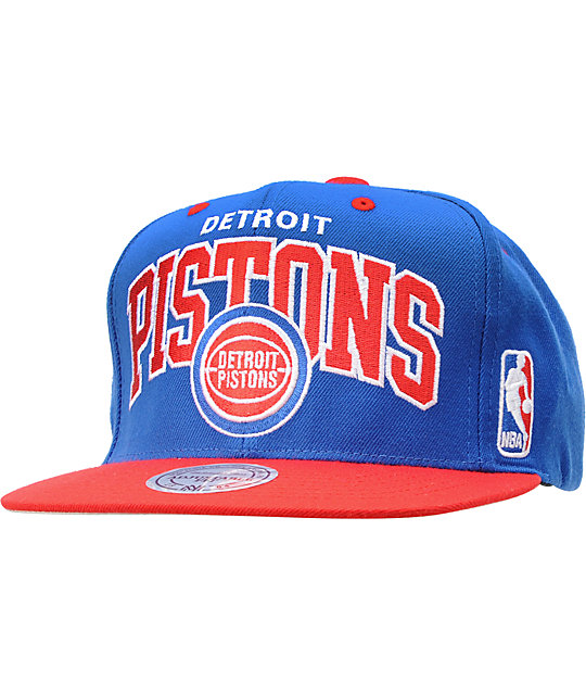NBA Mitchell and Ness Detroit Pistons Arch Snapback Hat