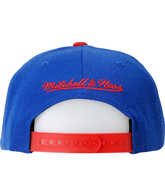 NBA Mitchell and Ness Detroit Pistons Basic 2Tone Snapback Hat