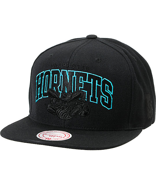 NBA Mitchell and Ness Hornets Black Arch Snapback Hat