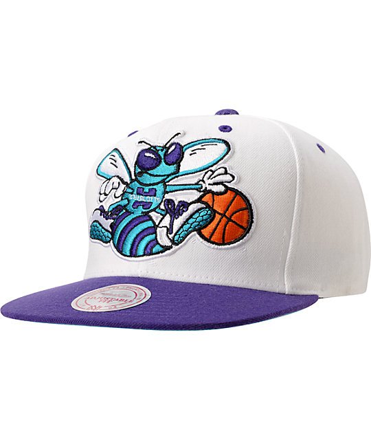 NBA Mitchell and Ness Hornets XL Logo 2Tone White Snapback Hat