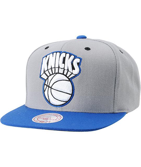 NBA Mitchell and Ness Knicks Grey Undervisor Arch Snapback Hat