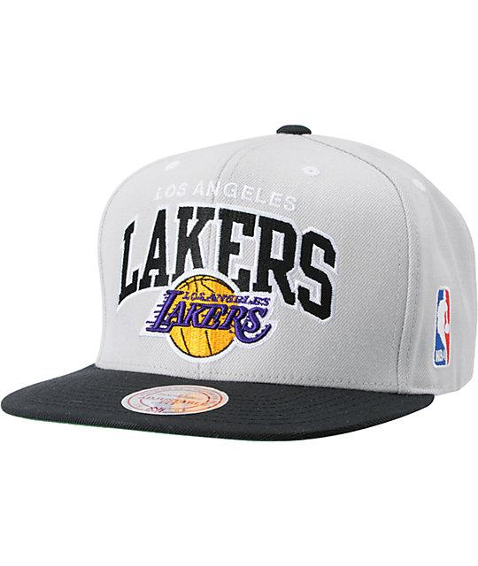 NBA Mitchell and Ness LA Lakers Grey Arch Logo Snapback Hat