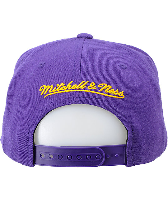 NBA Mitchell and Ness LA Lakers Purple Logo Snapback Hat