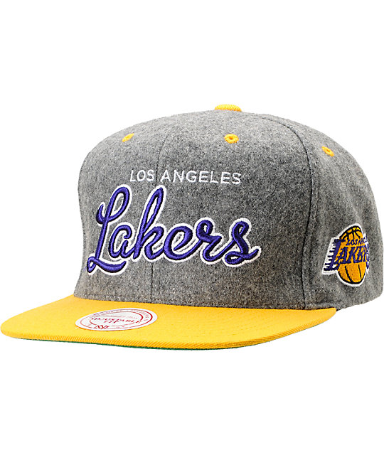 NBA Mitchell and Ness Lakers Melton Script 2Tone Snapback Hat