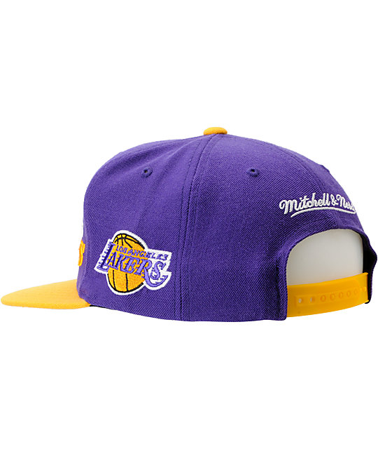 NBA Mitchell and Ness Los Angeles Lakers Media Day Snapback Hat