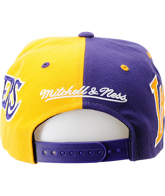 NBA Mitchell and Ness Los Angeles Lakers The Split Snapback Hat