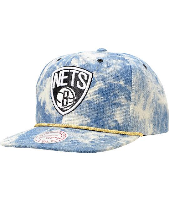 NBA Mitchell and Ness Nets Acid Wash Blue Snapback Hat
